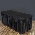 Black Double Drape Table Skirt / Satin - 14ft