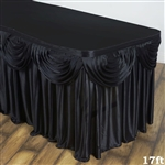 Black Double Drape Table Skirt / Satin - 17ft