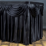 Black Double Drape Table Skirt / Satin - 21ft