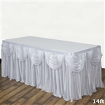 White Double Drape Table Skirt / Satin - 14ft