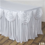 White Double Drape Table Skirt / Satin - 17ft