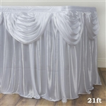 White Double Drape Table Skirt / Satin - 21ft