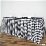 14FT White/Black Checkered Gingham Polyester Table Skirt