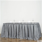 21FT White/Black Checkered Gingham Polyester Table Skirt