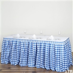 17FT White/Blue Checkered Gingham Polyester Table Skirt