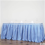 21FT White/Blue Checkered Gingham Polyester Table Skirt