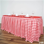 14FT White/Red Checkered Gingham Polyester Table Skirt
