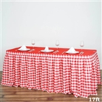 17FT White/Red Checkered Gingham Polyester Table Skirt