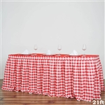 21FT White/Red Checkered Gingham Polyester Table Skirt