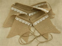 Pennant Banner w/ Lace (Burlap) - 14FT Natural