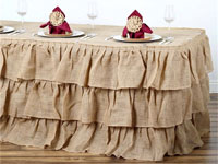 3 Tier Rustic Elegant Ruffled Burlap Table Skirt - 14 Ft