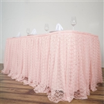 Premium Polyester Lace Wedding Table Skirt - Blush - 14FT