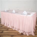 Premium Polyester Lace Wedding Table Skirt - Blush - 17FT