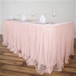 Premium Polyester Lace Wedding Table Skirt - Blush - 21FT
