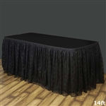 Premium Polyester Lace Wedding Table Skirt - Black - 14FT