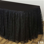 Premium Polyester Lace Wedding Table Skirt - Black - 17FT
