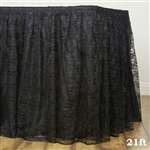 Premium Polyester Lace Wedding Table Skirt - Black - 21FT