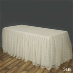 Premium Polyester Lace Wedding Table Skirt - Ivory - 14FT