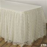 Premium Polyester Lace Wedding Table Skirt - Ivory - 17FT