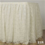 Premium Polyester Lace Wedding Table Skirt - Ivory - 21FT