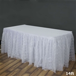 Premium Polyester Lace Wedding Table Skirt - White - 14FT