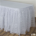 Premium Polyester Lace Wedding Table Skirt - White - 17FT