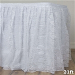 Premium Polyester Lace Wedding Table Skirt - White - 21FT