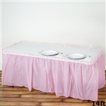 14FT Pink Wholesale Disposable Waterproof Pleated Plastic Table Skirt for Wedding Decoration