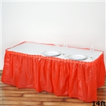 14FT Red Wholesale Disposable Waterproof Pleated Plastic Table Skirt for Wedding Decoration