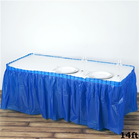 14FT Royal Blue Wholesale Disposable Waterproof Pleated Plastic Table Skirt for Wedding Decoration