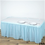 14FT Serenity Blue Wholesale Disposable Waterproof Pleated Plastic Table Skirt for Wedding Decoration