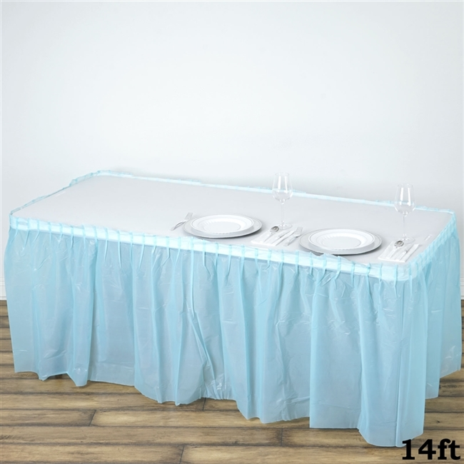 Buy plastic disposable tablecloths for wedding table dcor 14ft serenity blue wholesale disposable waterproof pleated plastic table skirt for wedding decoration junglespirit Choice Image
