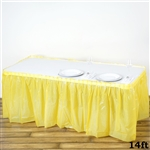 14FT Yellow Wholesale Disposable Waterproof Pleated Plastic Table Skirt for Wedding Decoration