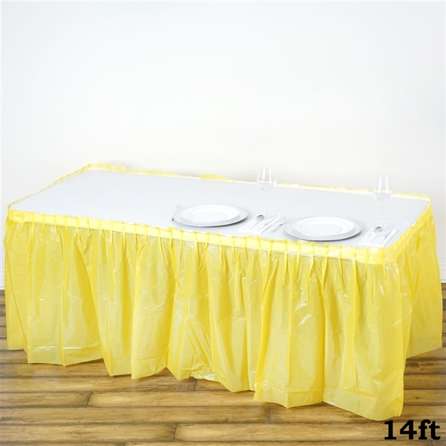 Buy plastic disposable tablecloths for wedding table dcor 14ft yellow wholesale disposable waterproof pleated plastic table skirt for wedding decoration junglespirit Choice Image