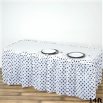 14FT Disposable Polka Dots Plastic Vinyl Picnic Birthday Wedding Party Home Table Skirt - White/Black