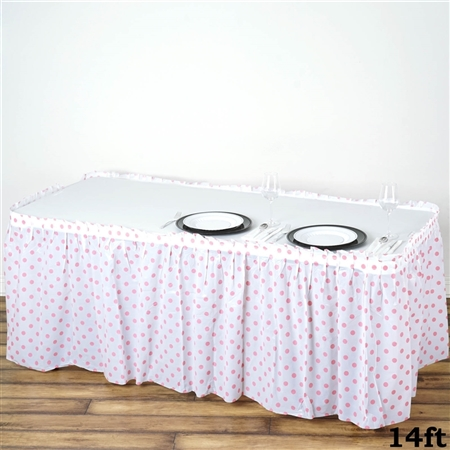 14FT Disposable Polka Dots Plastic Vinyl Picnic Birthday Wedding Party Home Table Skirt - White/Pink