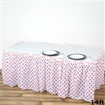14FT Disposable Polka Dots Plastic Vinyl Picnic Birthday Wedding Party Home Table Skirt - White/Red