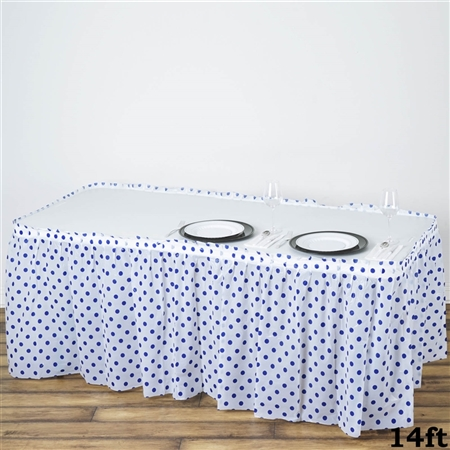 14FT Disposable Polka Dots Plastic Vinyl Picnic Birthday Wedding Party Home Table Skirt - White/Royal Blue