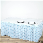14FT Disposable Polka Dots Plastic Vinyl Picnic Birthday Wedding Party Home Table Skirt - White/Serenity Blue