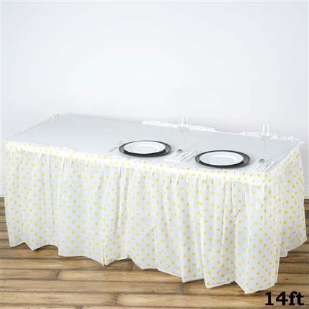 14FT Disposable Polka Dots Plastic Vinyl Picnic Birthday Wedding Party Home Table Skirt - White/Yellow