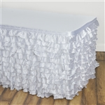 Satin Ruffle Table Skirt - White - 14FT