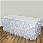 Satin Ruffle Table Skirt - White - 17FT