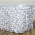 Satin Ruffle Table Skirt - White - 21FT