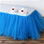 Wedding Table Skirts | 14ft Serenity Blue Tulle Table Skirts | Razatrade