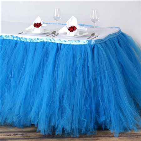 17ft Tantalizing 8 Layer Tulle Table Skirt - Serenity Blue