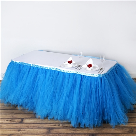 21ft Tantalizing 8 Layer Tulle Table Skirt - Serenity Blue