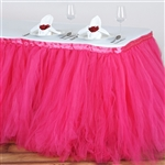17ft Tantalizing 8 Layer Tulle Table Skirt - Fushia