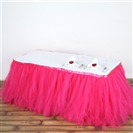 21ft Tantalizing 8 Layer Tulle Table Skirt - Fushia
