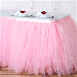 17ft Tantalizing 8 Layer Tulle Table Skirt - Rose Quartz Pink
