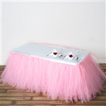 21ft Tantalizing 8 Layer Tulle Table Skirt - Rose Quartz Pink